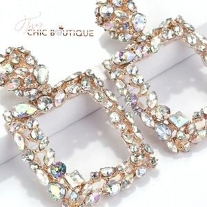 Crystal gold drop earrings
